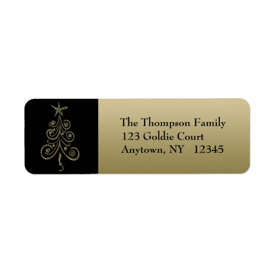 Gold Holiday Tree Address Label