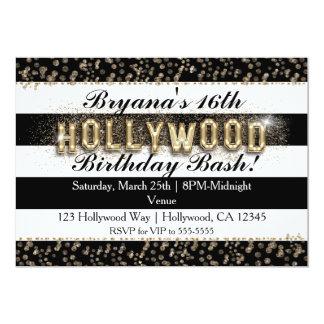 Gold Hollywood Black & White Stripes Invitations