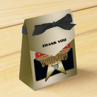 Gold Hollywood Retro Star Party Bow Favor Box