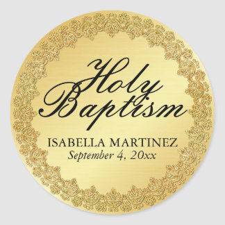 Gold Holy Baptism Sacrament Catholic Sticker Seal