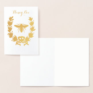 GOLD HONEY BEE  WITH FLORAL CROWN FOIL CARD