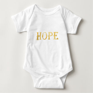 Gold Hope Text Baby Jersey Bodysuit, White Baby Bodysuit