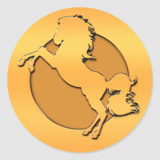 Gold Horse Round Sticker