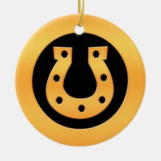 Gold Horseshoe Ceramic Ornament
