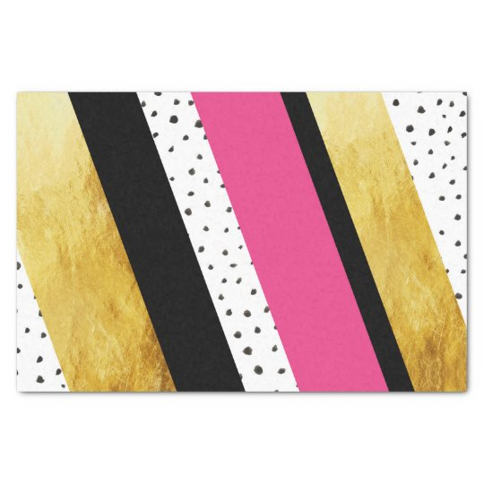 Gold Hot Pink Black White Dots Stripes Tissue Tissue Paper