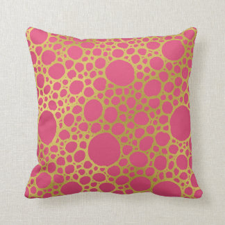 Gold Hot Pink Hand Drawn Circles Pillow