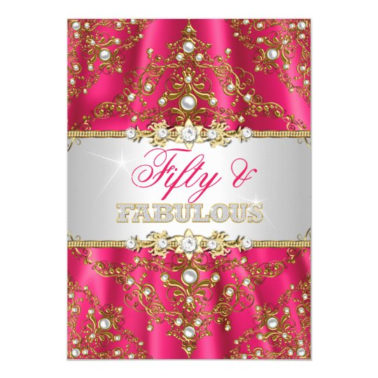 Gold & Hot Pink Pearl Damask Fifty and Fabulous Card