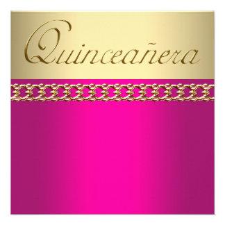 Gold Hot Pink Quinceanera Custom Invite