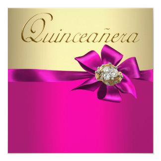 Gold Hot Pink Quinceanera Invitations