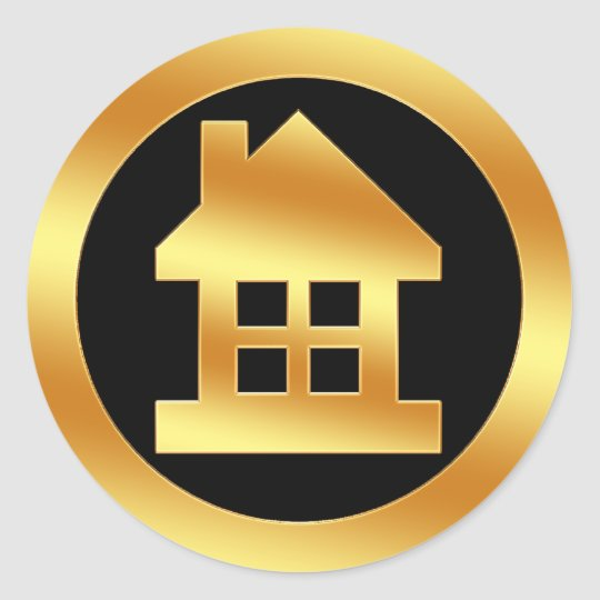 Gold House Icon Classic Round Sticker