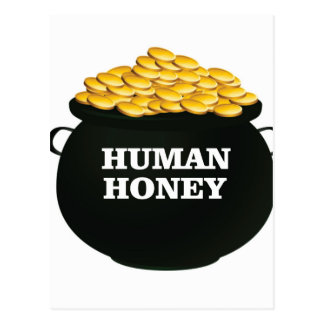 gold human honey postcard