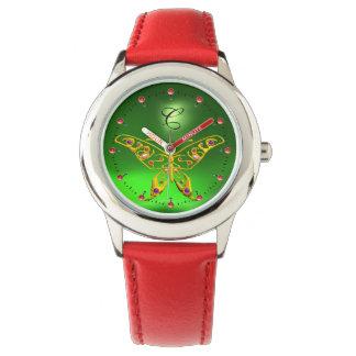 GOLD HYPER BUTTERFLY Emerald Green Monogram Watch