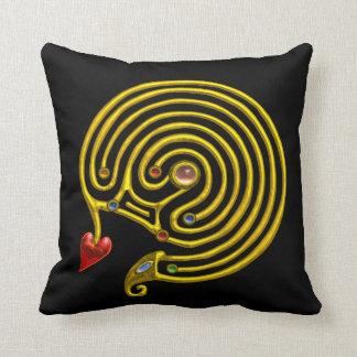 GOLD HYPER LABYRINTH ,Black Throw Pillow