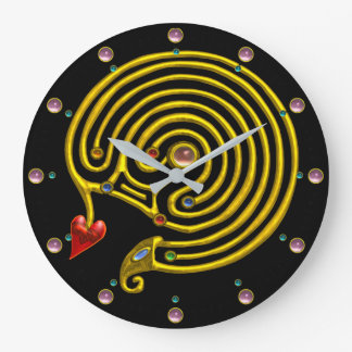 GOLD HYPER LABYRINTH PINK GEMSTONES Black Yellow Large Clock
