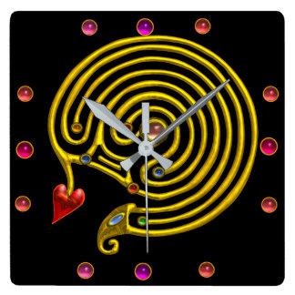 GOLD HYPER LABYRINTH PINK GEMSTONES Black Yellow Square Wall Clock