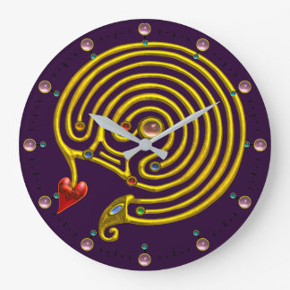GOLD HYPER LABYRINTH PINK GEMSTONES Purple Yellow Large Clock
