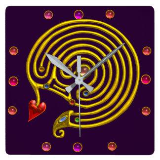 GOLD HYPER LABYRINTH PINK GEMSTONES Purple Yellow Square Wall Clock