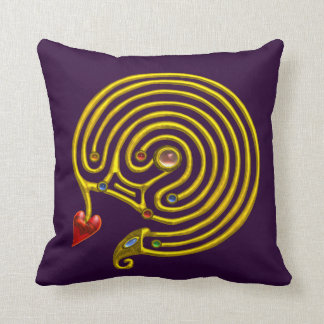 GOLD HYPER LABYRINTH ,Yellow Purple Throw Pillow