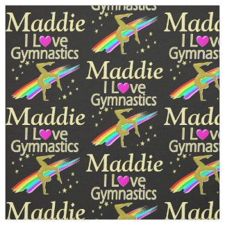 GOLD I LOVE GYMNASTICS PERSONALIZED FABRIC