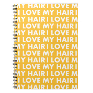 Gold I Love My Hair Bold Text Cutout Notebooks
