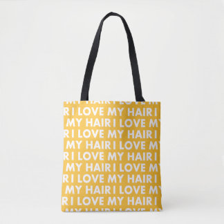 Gold I Love My Hair Bold Text Cutout Tote Bag