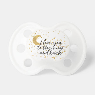 Gold I love you to the moon confetti Pacifier