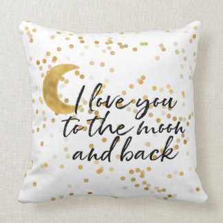 Gold I love you to the moon confetti Throw Pillow