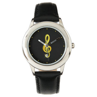 Gold Icon of a Musical Note G-Clef Watch