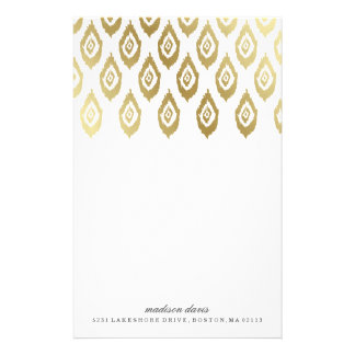 Gold Ikat | Personalized Stationery