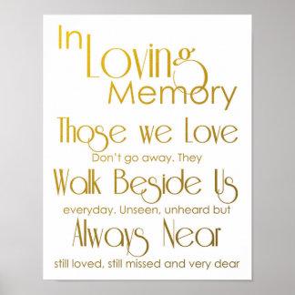 Gold In Loving Memory Wedding Sign