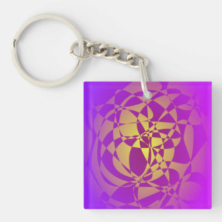 Gold in Purple Haze Double-Sided Square Acrylic Keychain