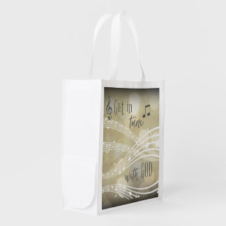 Gold In Tune with God Quote Grocery Bag