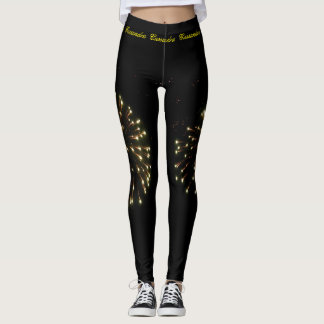 Gold Independence Day Fireworks Burst Leggings