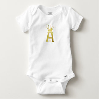 Gold Initial A Letter Monogram Baby Bodysuit