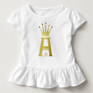 Gold Initial A Letter Monogram Baby Ruffle Top