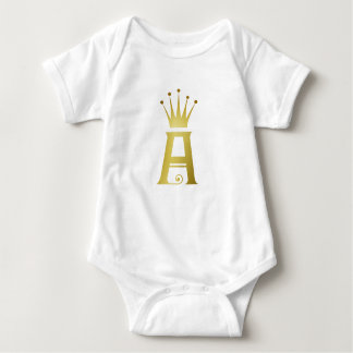 Gold Initial A Letter Monogram Baby Top Bodysuit