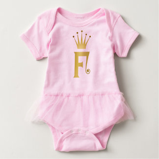 Gold Initial F Letter Monogram Crown Baby Tutu Baby Bodysuit