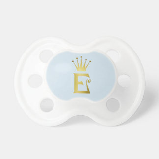 Gold Initial Letter E Baby Pacifier Monogram Crown