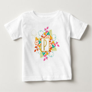 Gold Initial Letter P With Colorful Flowers Baby T-Shirt
