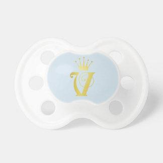 Gold Initial Letter V Monogram Baby Pacifier Gift