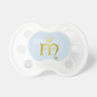 Gold Initial M Letter Monogram Baby Pacifier