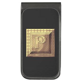 GOLD INITIAL P MONEY CLIP GUNMETAL FINISH MONEY CLIP