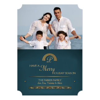 """Gold Initial Photo Holiday Card 5"""" X 7"""" Invitation Card"""