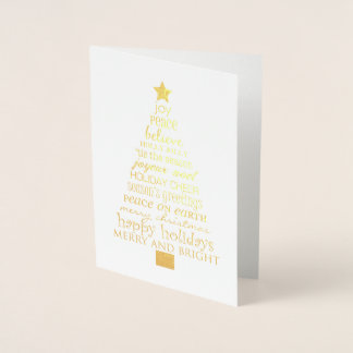 Gold Inspirational Christmas Tree Foil Card