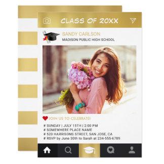 Gold Instagram Frame Photo Graduation Announcement