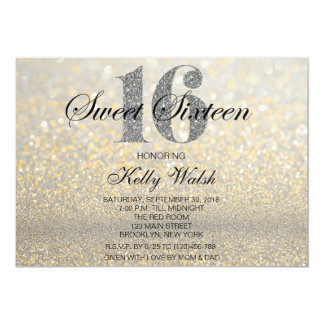 Gold Iridescent Sweet 16 Glitter Invitation