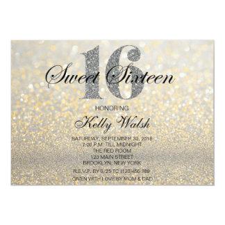 Gold Iridescent Sweet 16 Glitter Invitation