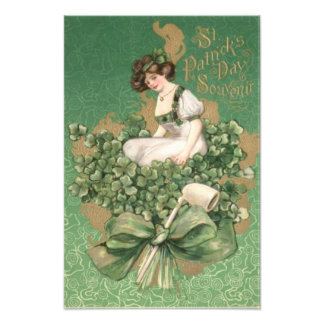 Gold Irish Woman Green Bow Shamrock Clay Pipe Photo Print