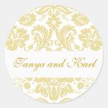 Gold Ivory Bride Groom Damask Wedding Seal Sticker