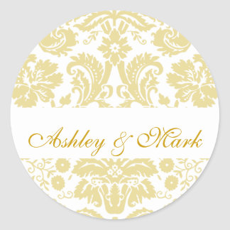 Gold Ivory Bride Groom Damask Wedding Sticker